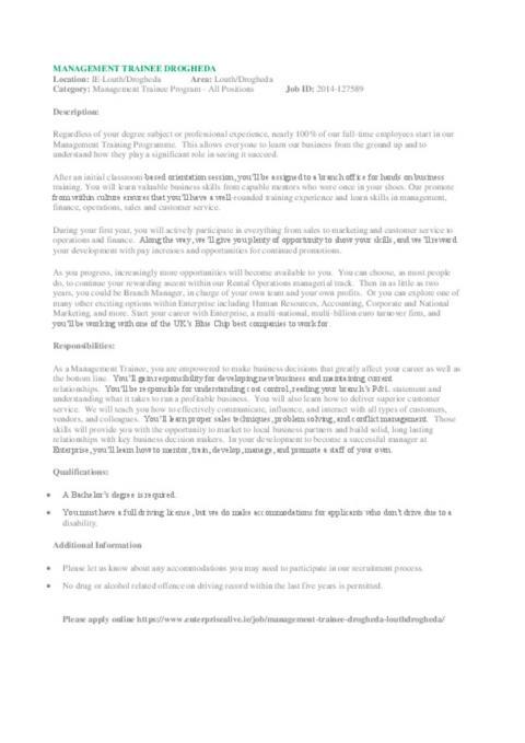 Enterprise Rent A Car Internship Interview