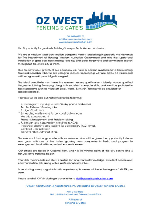 Cover Letter For Graduate Building Surveyor - Cover Letter Examples
