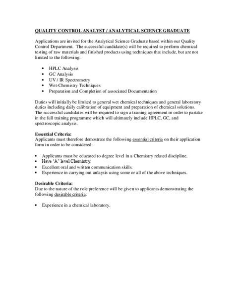 quality control analyst job description